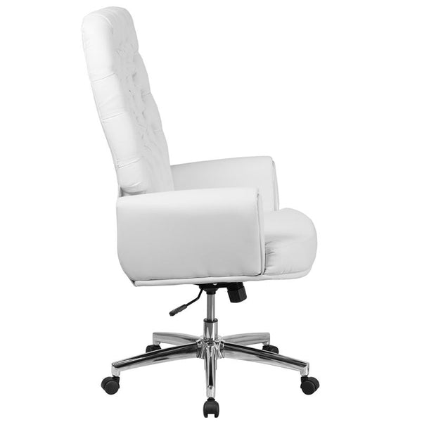 Flash Furniture High Back Traditional Tufted White Leather Executive Swivel Chair with Arms - BT-444-WH-GG