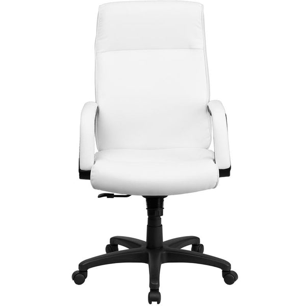 Flash Furniture High Back White Leather Executive Swivel Chair with Memory Foam Padding and Arms - BT-90033H-WH-GG