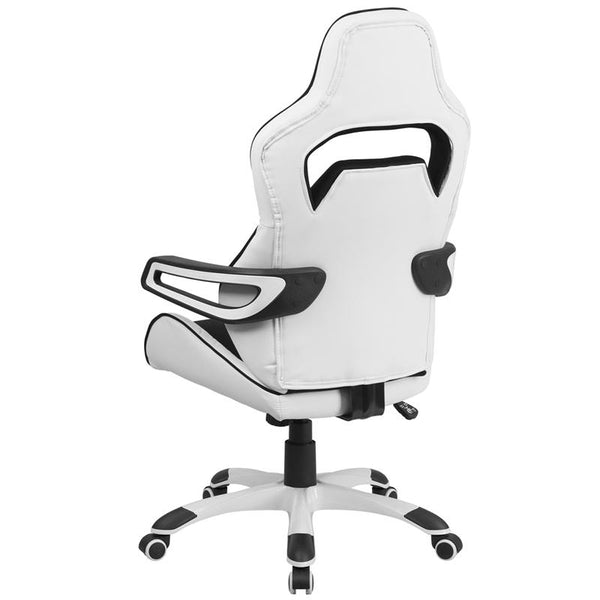 Flash Furniture High Back White Vinyl Executive Swivel Chair with Black Fabric Inserts and Arms - CH-CX0713H01-GG