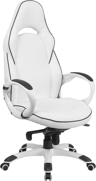 Flash Furniture High Back White Vinyl Executive Swivel Chair with Black Trim and Arms - CH-CX0496H01-GG