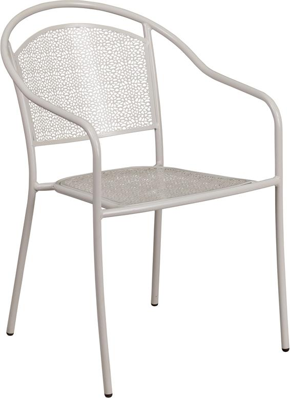 Flash Furniture Light Gray Indoor-Outdoor Steel Patio Arm Chair with Round Back - CO-3-SIL-GG