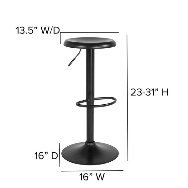 Flash Furniture Madrid Series Adjustable Height Retro Barstool in Black Finish - CH-181220-BK-GG