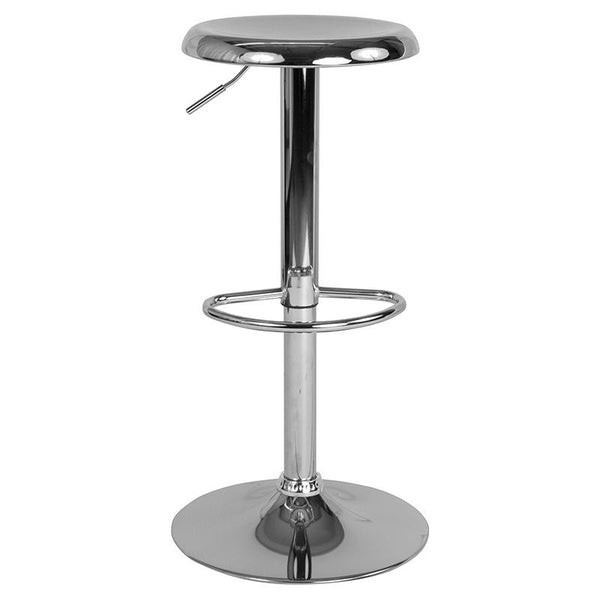 Flash Furniture Madrid Series Adjustable Height Retro Barstool in Chrome Finish - CH-181220-CH-GG