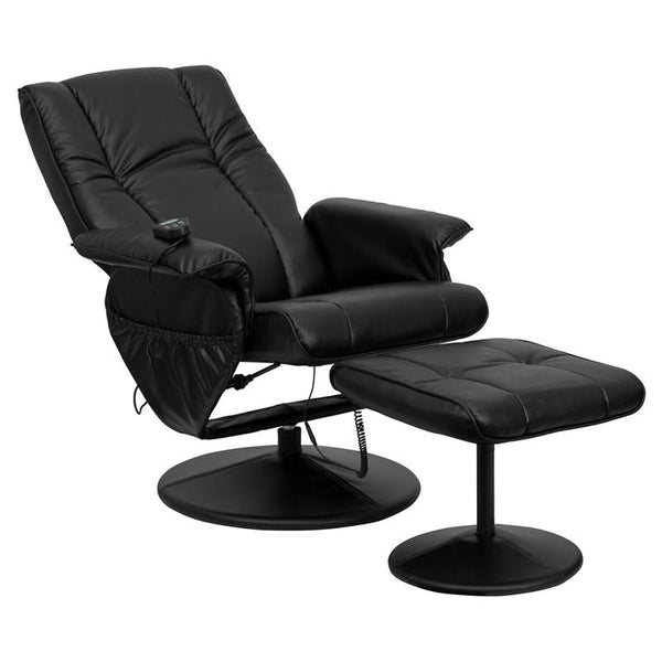 Flash Furniture Massaging Black Leather Recliner and Ottoman with Leather Wrapped Base - BT-7600P-MASSAGE-BK-GG