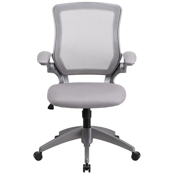 Flash Furniture Mid-Back Gray Mesh Swivel Task Chair with Gray Frame and Flip-Up Arms - BL-ZP-8805-GY-GG