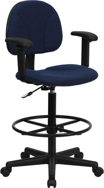 Flash Furniture Navy Blue Patterned Fabric Drafting Chair with Adjustable Arms (Cylinders: 22.5''-27''H or 26''-30.5''H) - BT-659-NVY-ARMS-GG