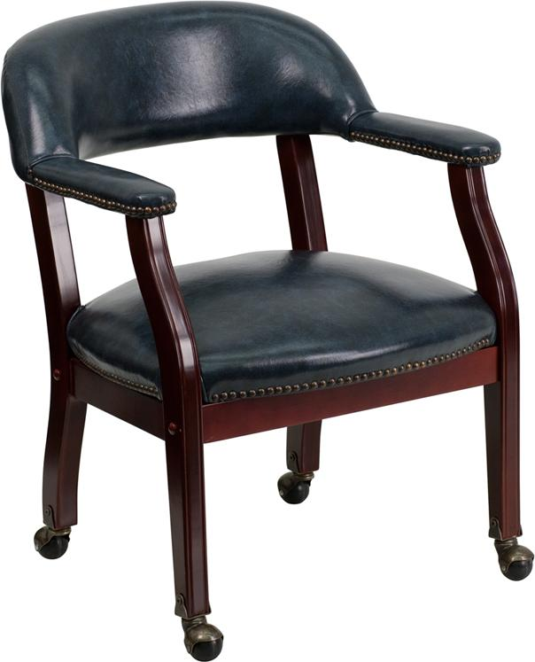 Flash Furniture Navy Vinyl Luxurious Conference Chair with Accent Nail Trim and Casters - B-Z100-NAVY-GG