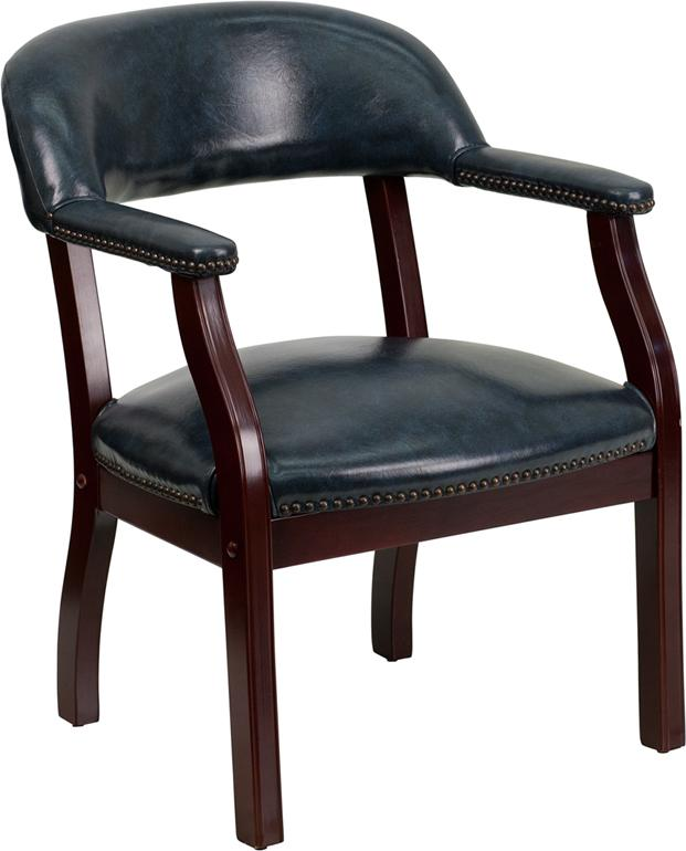 Flash Furniture Navy Vinyl Luxurious Conference Chair with Accent Nail Trim - B-Z105-NAVY-GG