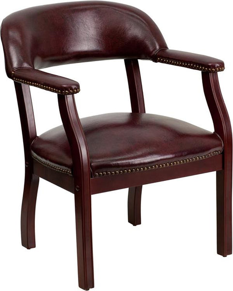 Flash Furniture Oxblood Vinyl Luxurious Conference Chair with Accent Nail Trim - B-Z105-OXBLOOD-GG