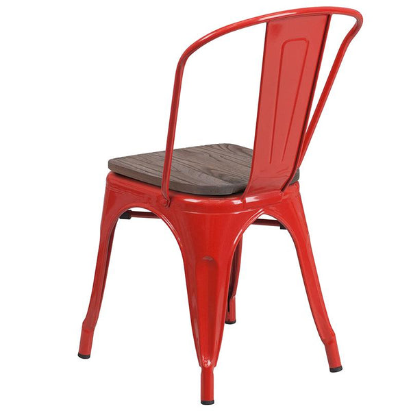 Flash Furniture Red Metal Stackable Chair with Wood Seat - CH-31230-RED-WD-GG