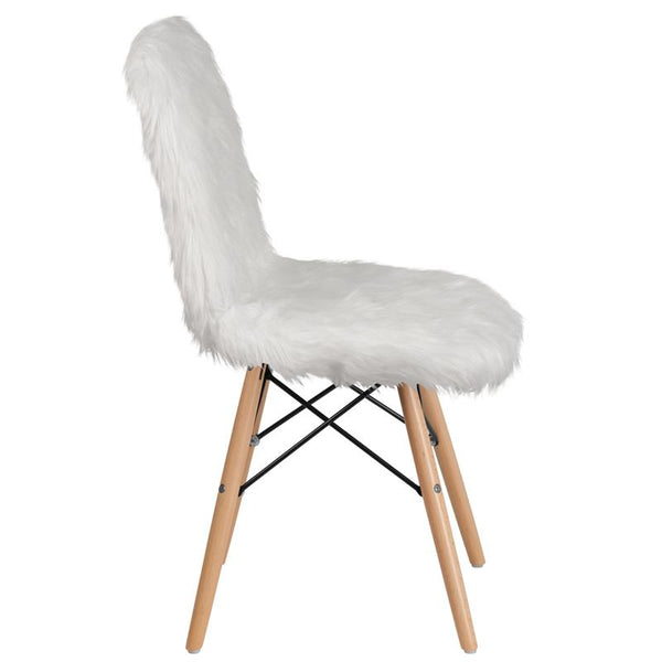 Flash Furniture Shaggy Dog White Accent Chair - DL-10-GG