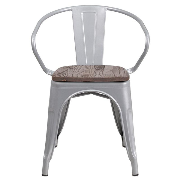 Flash Furniture Silver Metal Chair with Wood Seat and Arms - CH-31270-SIL-WD-GG