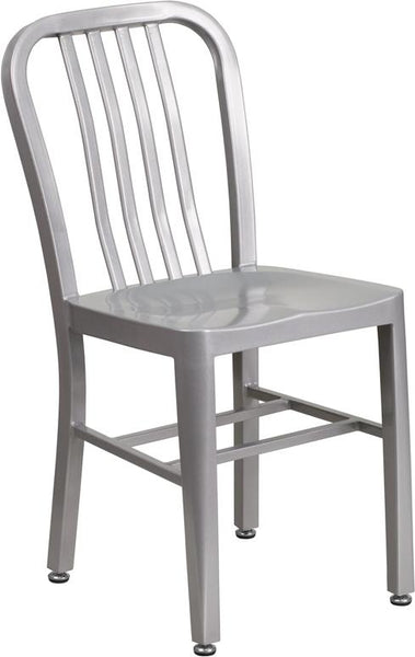 Flash Furniture Silver Metal Indoor-Outdoor Chair - CH-61200-18-SIL-GG