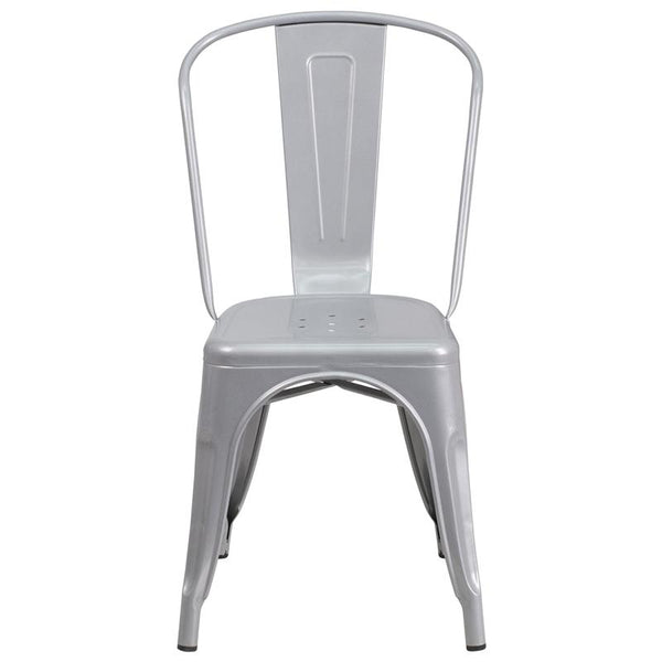 Flash Furniture Silver Metal Indoor-Outdoor Stackable Chair - CH-31230-SIL-GG