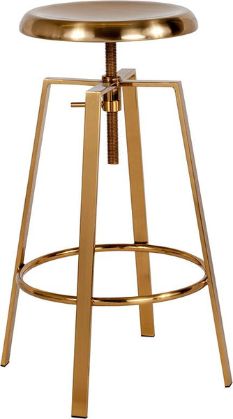 Flash Furniture Toledo Industrial Style Barstool with Swivel Lift Adjustable Height Seat in Gold Finish - CH-181070-26S-GLD-GG