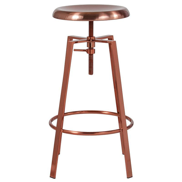 Flash Furniture Toledo Industrial Style Barstool with Swivel Lift Adjustable Height Seat in Rose Gold Finish - CH-181070-26S-ROS-GG