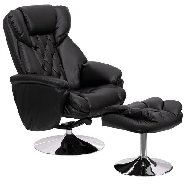 Flash Furniture Transitional Black Leather Recliner and Ottoman with Chrome Base - BT-7807-TRAD-GG