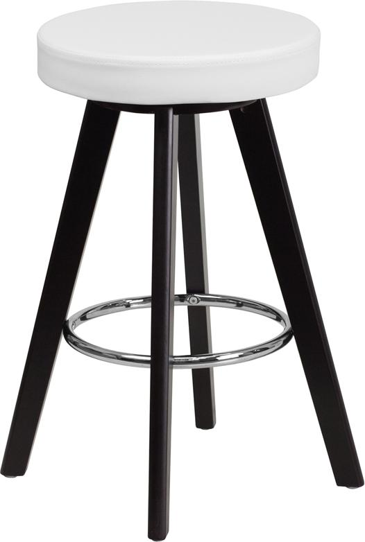 Flash Furniture Trenton Series 24'' High Contemporary Cappuccino Wood Counter Height Stool with White Vinyl Seat - CH-152600-WH-VY-GG