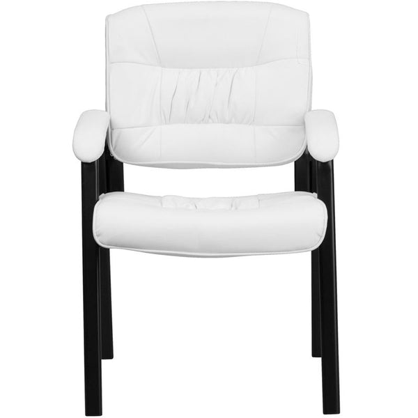 Flash Furniture White Leather Executive Side Reception Chair with Black Metal Frame - BT-1404-WH-GG