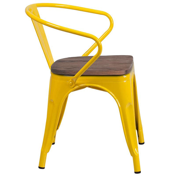 Flash Furniture Yellow Metal Chair with Wood Seat and Arms - CH-31270-YL-WD-GG