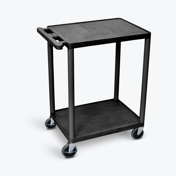 "Luxor 2-Shelf Utility Cart, 24""W x 18""D x 33.5""H (Black) - HE32-B"