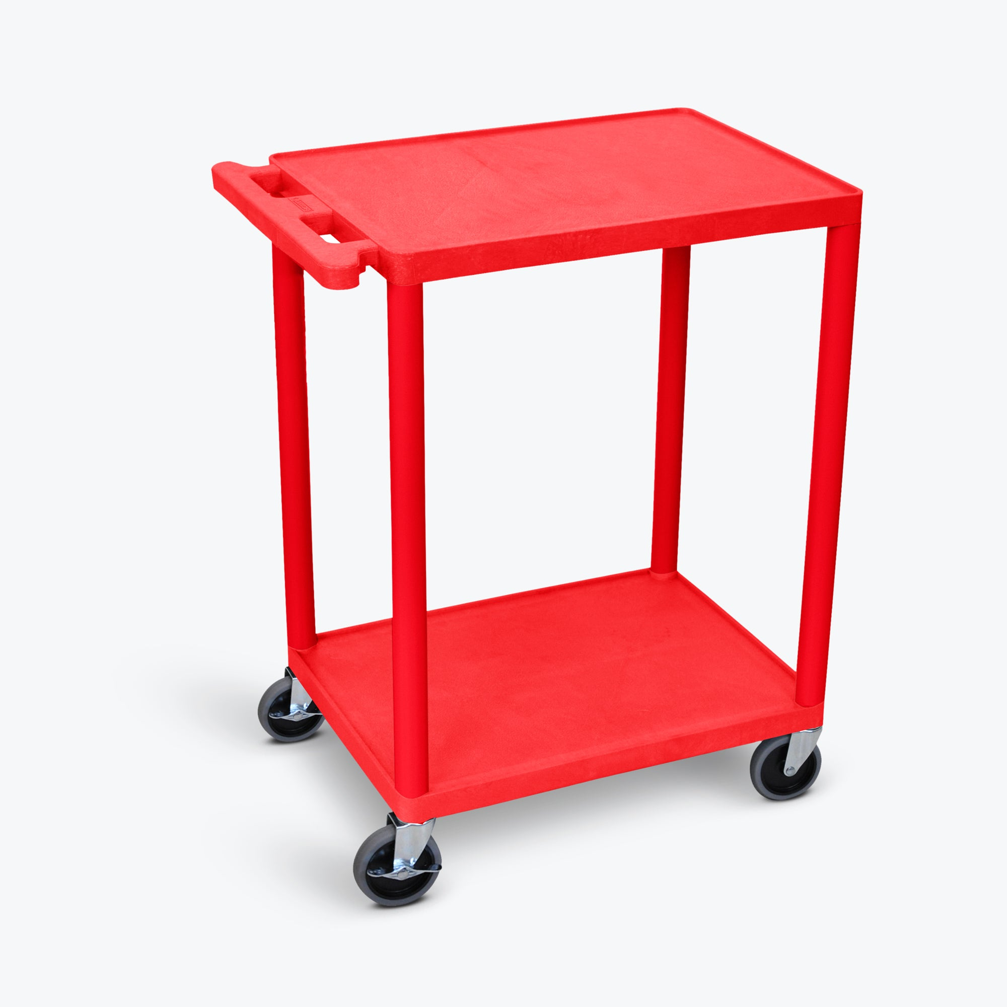 "Luxor 2-Shelf Utility Cart 24""W x 18""D x 33.5""H (Red) - HE32-RD"