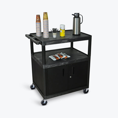 "Luxor Large Coffee Cart w/ Cabinet 32""W x 24""D x 40.25""H (Black) - HE40C-B"
