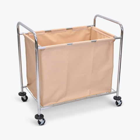 "Luxor Industrial Laundry Cart w/ 1-Compartment Tan Canvas Bag & Steel Frame 32""W x 26""D x 20.5""H (Silver/Tan) - HL14"