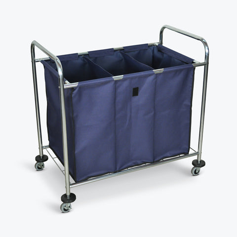 "Luxor Industrial Laundry Cart w/ 3-Compartment Navy Canvas Bag & Steel Frame 36.5""W x 22""D x 36""H (Silver/Navy) - HL15"