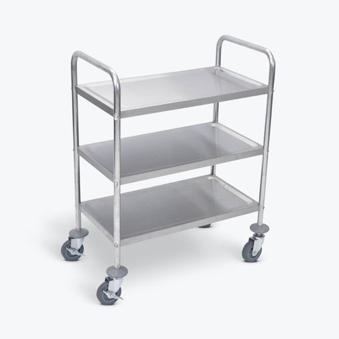 "Luxor 3-Shelf Stainless Steel Cart 26""W x 16""D x 37""H (Silver) - L100S3"