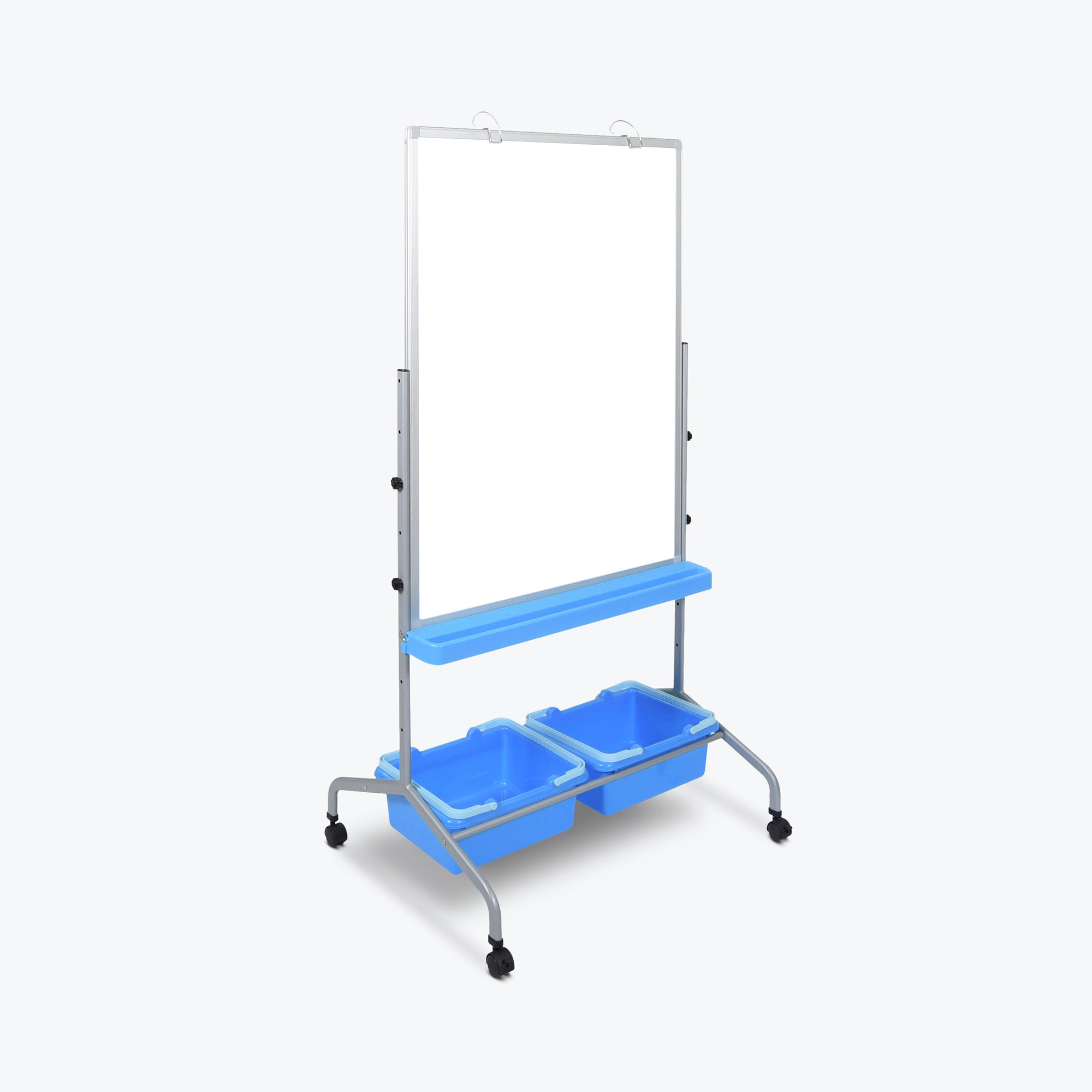 "Luxor Classroom Chart Stand w/ Storage Bins 31""W x 25""D x 61"" to 72""H (White/Silver/Blue) - L330"
