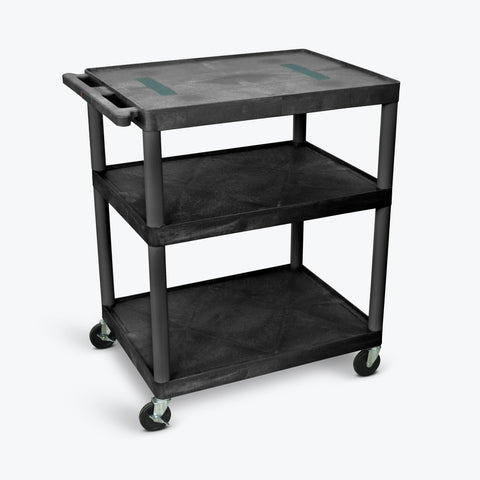 "Luxor 40""H Endura 3-Shelf Cart 32""W x 24""D x 40.25""H (Black) - LE40-B"