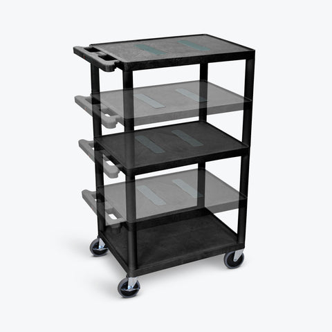 "Luxor 41""H Endura Multi-Height 3-Shelf AV Cart 24""W x 18""D x 16"" to 41""H (Black) - LEDUO-B"
