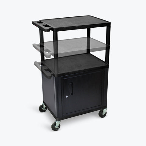 "Luxor 42""H Endura Multi-Height Presentation Cart w/ Cabinet & Electric 24""W x 18""D x 16"" to 42""H (Black) - LPDUOCE-B"