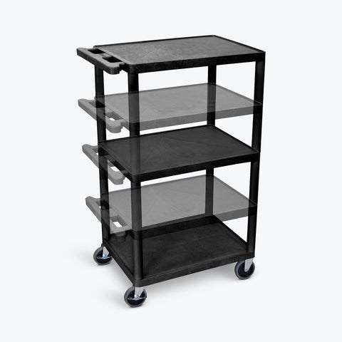 "Luxor 42""H Endura Multi-Height Presentation Cart w/ Electric 24""W x 18""D x 16"" to 42""H (Black) - LPDUOE-B"