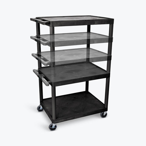 "Luxor 54""H Endura Multi-Height 3-Large Shelf Presentation Cart w/ Electric 32""W x 24""D x 27"" to 54""H (Black) - LPLDUOE-B"