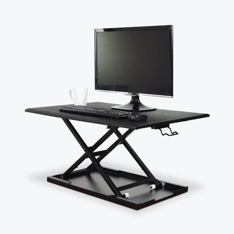 "Luxor Pneumatic Adjustable Desktop 31.5""W x 22.25""D x 2.75"" to 15.75""H (Black) - CVTR32-BK"