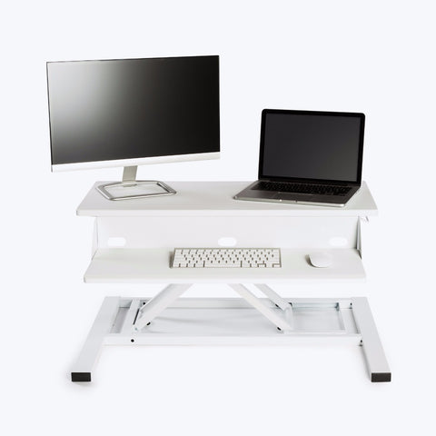 "Luxor Level Up 32 Pro Standing Desk Converter 32""W x 23.5""D x 5.25"" to 15.5""H (White) - LVLUP PRO32-WH"