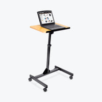 "Luxor Adjustable Height Lectern Mobile Presentation Station 19.75""W x 23.25""D x 36.25"" to 45""H (Black/Red Oak) - LX9128"