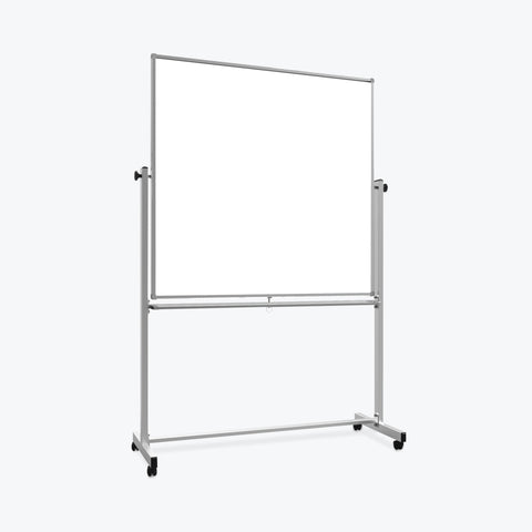 "Luxor 48"" x 48"" Double-Sided Magnetic Whiteboard 54.7""W x 22.8""D x 71.25""H (Silver/White) - MB4848WW"