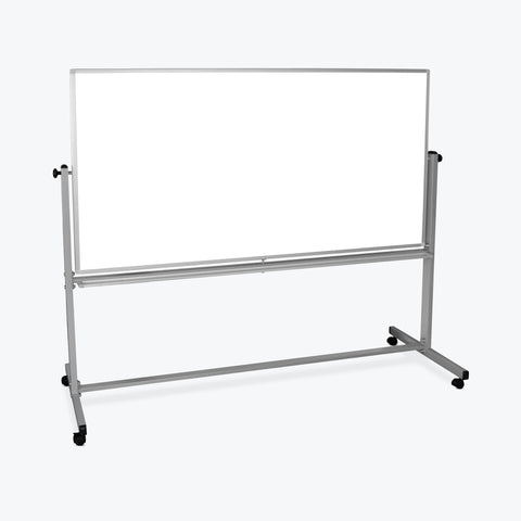 "Luxor 72"" x 40"" Reversible Magnetic Mobile Whiteboard 74.5""W x 23""D x 69""H (Silver/White) - MB7240WW"