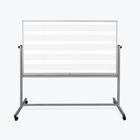 "Luxor 72"" x 48"" Reversible Magnetic Mobile Music Whiteboard 74.5""W x 23""D x 72""H (Silver/White) - MB7248MM"