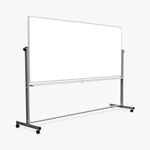 "Luxor 96"" x 40"" Reversible Magnetic Mobile Whiteboard 99""W x 23""D x 69""H (Silver/White) - MB9640WW"