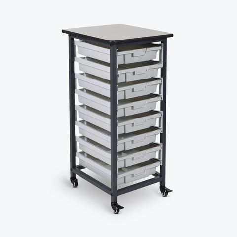 "Luxor 8-Tub Mobile Bin System (Small) - Single Row 12.25""W x 16.75""D x 37.5""H (Black/Gray) - MBS-SR-8S"