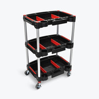 "Luxor 3-Shelf Tool Cart w/ Magnetized Side Panels 22.75""W x 18""D x 35.5""H (Red/Black ) - MC-3"
