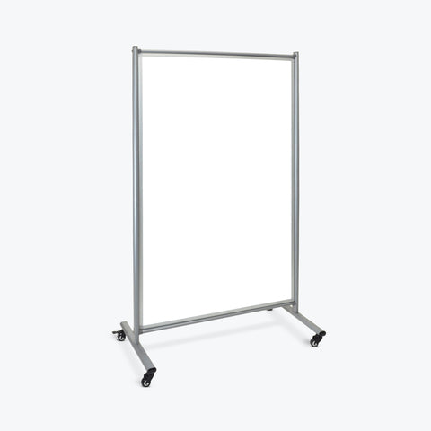 "Luxor Double-Sided Mobile Magnetic Whiteboard Room Divider 43""W x 24""D x75""H (Silver/White) - MD4072W"