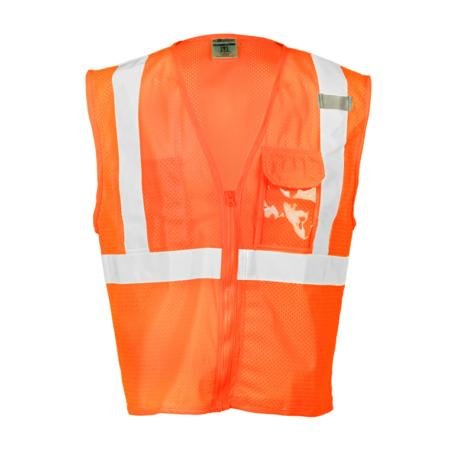 ML Kishigo Class 2 Vests Clear ID Vest - Large-XLarge -  Orange - 1533L