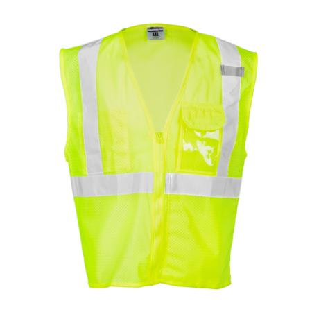 ML Kishigo Class 2 Vests Clear ID Vest - Small-Medium -  Lime - 1532S