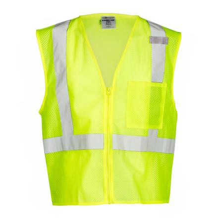 ML Kishigo Class 2 Single Pocket Zipper Mesh Vest Large (Lime) - 1089L