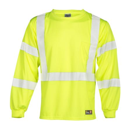 ML Kishigo Flame Resistant FR Long Sleeve T-Shirt - Economy - Medium -  Lime - F462M